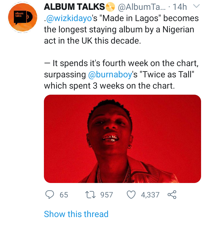 'Made In Lagos' Surpasses 'Twice As Tall' On UK Albums Chart