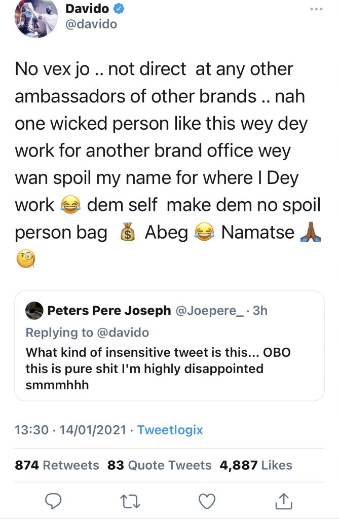 Singer Davido Apologizes To Disappointed Fan