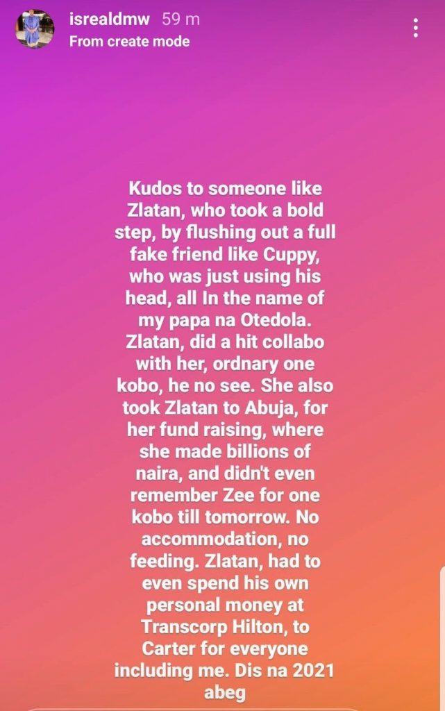 DJ Cuppy used Zlatan says Davido's po - Israel
